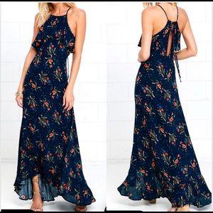 Lulus Navy blue floral print maxi dress (M)